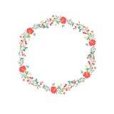 Cute retro flowers arranged un a shape of the wreath Stock Image