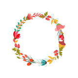 Cute retro flowers arranged un a shape of the wreath Royalty Free Stock Photography
