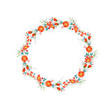 Cute retro flowers arranged un a shape of the wreath Royalty Free Stock Image