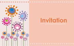 Cute Retro Flowers Invitation Royalty Free Stock Photography