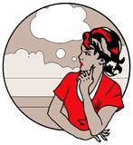 Cute Retro Gal Looking and think royalty free stock photos