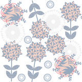 Cute retro gentle floral  seamless pattern with odd flowers  and Stock Images