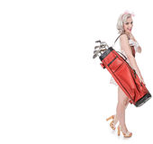 Cute retro girl carrying red golf bag over her shoulder, isolate Royalty Free Stock Images