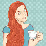 Cute retro girl with cup of coffee or tea Royalty Free Stock Photography