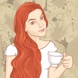 Cute retro girl with cup of coffee or  tea Stock Image