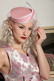 Cute Retro Girl In Fifties Dress & Hat Royalty Free Stock Image