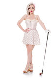 Cute retro girl in mini dress carrying red golf bag over her sho Royalty Free Stock Image