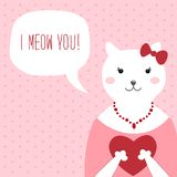 Cute retro hand drawn Valentine`s Day card as funny Cat with Heart and speech bubble Royalty Free Stock Photography