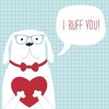 Cute retro hand drawn Valentine`s Day card as funny Dog with Heart and speech bubble Stock Photo