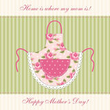 Cute retro Mother`s Day card with imitation of mom`s apron Royalty Free Stock Image