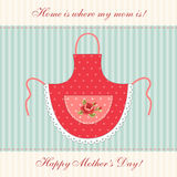Cute retro Mother`s Day card with imitation of mom`s apron Stock Photo