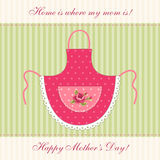 Cute retro Mother`s Day card with imitation of mom`s apron Royalty Free Stock Images