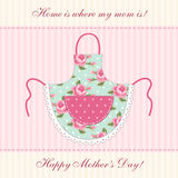 Cute retro Mother`s Day card with imitation of mom`s apron Stock Photography