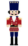 Cute retro Nutcracker. Tin soldier or Nutcracker with drum. Vector Illustration Stock Images