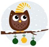 Cute retro owl sitting Stock Photography