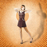 Cute retro pinup girl in time warp. Tattoo design Royalty Free Stock Photos