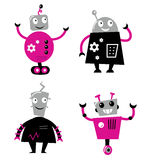 Cute retro robots set Royalty Free Stock Images