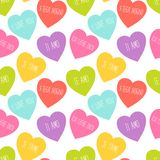 Cute retro seamless Valentines Day pattern with hearts Royalty Free Stock Photos