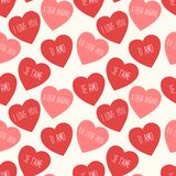 Cute retro seamless Valentines Day pattern with hearts Stock Photography