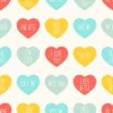 Cute retro seamless Valentines Day pattern with hearts Stock Images