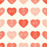 Cute retro seamless Valentines Day pattern with hearts Stock Photos