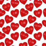 Cute retro seamless Valentines Day pattern with hearts Stock Photo