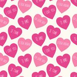 Cute retro seamless Valentines Day pattern with hearts Royalty Free Stock Images
