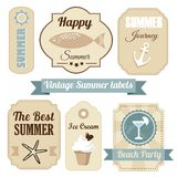 Cute retro set of summer vacation labels,  Royalty Free Stock Photos