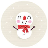 Cute retro Snowman in circle Royalty Free Stock Image