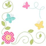 Cute retro spring card as patch fabric applique of flowers and butterflies. For your decoration Stock Photos