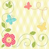 Cute retro spring card as patch fabric applique of flowers and butterflies Royalty Free Stock Images