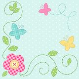 Cute retro spring card as patch fabric applique of flowers and butterflies Royalty Free Stock Image