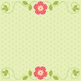 Cute retro spring card as patch fabric applique of flowers Royalty Free Stock Photo