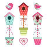 Cute retro spring and garden elements as fabric patch applique of bird house, flowers in pots and birds Stock Photography