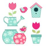 Cute retro spring and garden elements as fabric patch applique of bird house, flowers in pots and birds. For your decoration Royalty Free Stock Photos