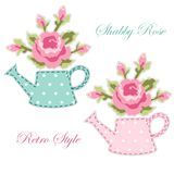 Cute retro spring and garden elements as fabric patch applique Royalty Free Stock Photo