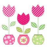 Cute retro spring and garden elements as fabric patch applique of flowers in pots. For your decoration Royalty Free Stock Images