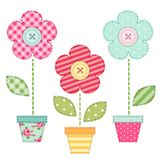 Cute retro spring and garden elements as fabric patch applique of flowers in pots. For your decoration Royalty Free Stock Photos