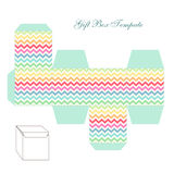 Cute retro square gift box template with chevron ornament to print, cut and fold. ! royalty free illustration