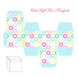 Cute retro square gift box template with circles ornament to print, cut and fold Stock Photo