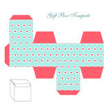 Cute retro square gift box template with hearts ornament to print, cut and fold. ! stock illustration