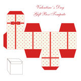 Cute retro square gift box template with hearts ornament to print, cut and fold. ! vector illustration