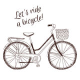 Cute retro style vintage hand drawn bicycle on white background Stock Image