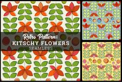 Retro Seamless Flower Pattern Background very kitschy. Cute retro stylized flower pattern is seamless so it can be tiled. Vintage color palette. Reminiscent of Royalty Free Illustration
