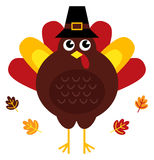Cute retro thanksgiving turkey with hat Royalty Free Stock Photography