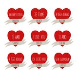 Cute retro Valentines Day card with hearts Stock Photo