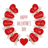 Cute retro Valentines Day card with hearts Stock Image