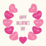 Cute retro Valentines Day card with hearts Royalty Free Stock Photo