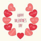 Cute retro Valentines Day card with hearts Royalty Free Stock Images