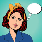 Cute retro woman in comics style Stock Photography